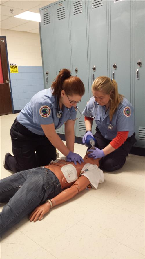 Cassidy Curtis and Andrea Brown practice for the EMT competition 2014