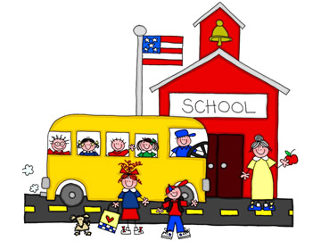 Image of schoolhouse and bus