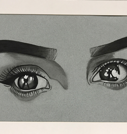 Charcoal drawing of eyes