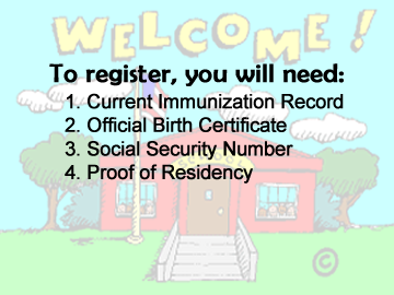 Welcome to School - items you need to register
